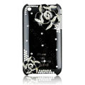 Bling Camellia Crystal Hard Cases Diamond Covers for iPhone 3G/3GS - Black
