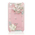 Bling Camellia Crystal Hard Cases Diamond Covers for iPhone 3G/3GS - Pink