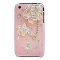Bling Camellia Crystal Hard Cases Diamond Skin Covers for iPhone 3G/3GS - Pink