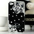 Bling Camellia Flower Crystal Cases Diamond Covers for iPhone 4G/4S - Black