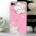 Bling Camellia Flower Crystal Cases Diamond Covers for iPhone 4G/4S - Pink