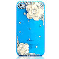 Bling Camellia Flower Crystal Cases Diamond Covers for iPhone 4G/4S - Transparent Blue