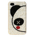 Bling Couple Panda Crystal Cases Diamond Pearl Covers for iPhone 4G/4S - White