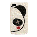 Bling Couple Panda Crystal Cases Pearl Diamond Covers for iPhone 4G/4S - White