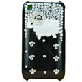 Bling Little lamb Crystal Hard Cases Diamond Covers for iPhone 3G/3GS - Black