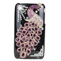 Bling Peacock Crystal Hard Cases Diamond Covers for iPhone 3G/3GS - Black