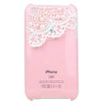 Bling Pearl Lace Crystal Hard Cases Pearl Covers for iPhone 3G/3GS - Pink