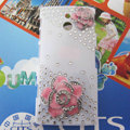 Bling Flowers Crystals Hard Cases Covers for Sony Ericsson LT22i Xperia P - Pink