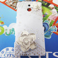 Bling Flowers Crystals Hard Cases Covers for Sony Ericsson LT22i Xperia P - White