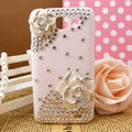 Bling Flower Crystals Diamond Hard Cases Covers for Samsung I9050 - White