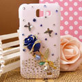 Bling Rose Flower Crystals Diamond Hard Cases Covers for Samsung I9050 - Blue