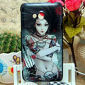Luxury Painting Beauty Hard Cases Skin Covers for HTC X720d One XC - Black