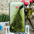 Luxury Painting Peacock Hard Cases Skin Covers for HTC X720d One XC - Green