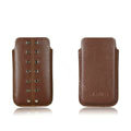 PIERVES Leather Cases Rivets Holster Covers for Samsung i8530 Galaxy Beam - Brown