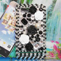 Bling 3D Flowers Crystals Hard Cases Diamond Covers for Motorola XT685 - Black