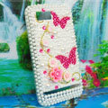 Bling 3D Flowers Crystals Hard Cases Diamond Covers for Motorola XT685 - White
