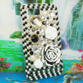 Bling Flower 3D Crystals Hard Cases Diamond Covers for Motorola XT685 - Black