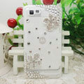 Bling Flower Crystals Hard Cases Diamond Covers for Motorola XT685 - White