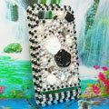 Bling Flowers 3D Crystals Hard Cases Diamond Covers for Motorola XT685 - Black