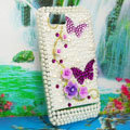 Bling Flowers 3D Crystals Hard Cases Diamond Covers for Motorola XT685 - Purple