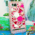 Bling Flowers 3D Crystals Hard Cases Diamond Covers for Motorola XT685 - Rose