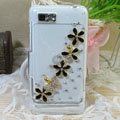 Bling Flowers Crystals Hard Cases Diamond Covers for Motorola XT685 - Black