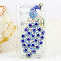 Bling Peacock Crystals Hard Cases Diamond Covers for Motorola XT685 - Blue