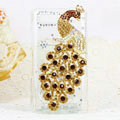 Bling Peacock Crystals Hard Cases Diamond Covers for Motorola XT685 - Gold