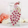 Bling Peacock Crystals Hard Cases Diamond Covers for Motorola XT685 - Pink