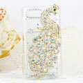 Bling Peacock Crystals Hard Cases Diamond Covers for Motorola XT685 - White