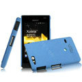 IMAK Cowboy Shell Quicksand Hard Cases Covers for Sony Ericsson ST27i Xperia Go - Blue