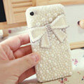 Bling Bowknot Crystal Cases Pearls Covers for iPhone 4G/4S - White
