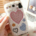 Bling Hearts Crystal Case Pearls Covers for Samsung Galaxy SIII S3 I9300 I9308 I939 I535 - White