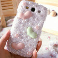 Hearts Bling Crystal Case Pearls Covers for Samsung Galaxy SIII S3 I9300 I9308 I939 I535 - White
