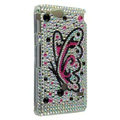 Bling Butterfly Rhinestone Crystal Cases Covers for Sony Ericsson ST27i Xperia Go - White