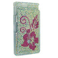 Bling Flower Rhinestone Crystal Cases Covers for Sony Ericsson ST27i Xperia Go - Rose