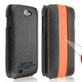 IMAK Luxury Holster Cases Slim leather Covers for Samsung i8150 Galaxy W - Black