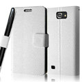 IMAK Slim leather Cases Luxury Holster Covers for Samsung Galaxy Note i9220 N7000 i717 - White