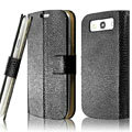IMAK Slim leather Cases Luxury Holster Covers for Samsung Galaxy SIII S3 I9300 I9308 I939 I535 - Black