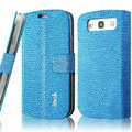 IMAK Slim leather Cases Luxury Holster Covers for Samsung Galaxy SIII S3 I9300 I9308 I939 I535 - Blue