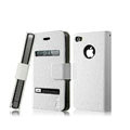 IMAK Slim leather Cases Luxury Holster Covers for iPhone 4G/4S - White