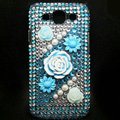 3D Flower Bling Crystal Cover Diamond Rhinestone Cases For Samsung Galaxy S III 3 i9300 I9308 - Blue