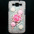 3D Flower Bling Crystal Cover Diamond Rhinestone Cases For Samsung Galaxy S III 3 i9300 I9308 - Pink