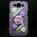 3D Flower Bling Crystal Cover Diamond Rhinestone Cases For Samsung Galaxy S III 3 i9300 I9308 - Purple