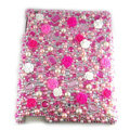 Flower Bling Crystal Cases Diamond Rhinestone Hard Covers for iPad 2 / The New iPad - Rose