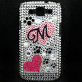 Heart Bling Crystal Cover Diamond Rhinestone Cases For Samsung Galaxy S III 3 i9300 I9308 - White