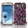 Leopard Bling Crystal Cover Rhinestone Diamond Cases For Samsung Galaxy S III 3 i9300 I9308 - Pink