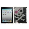 Skull Bling Crystal Cases Diamond Rhinestone Hard Covers for iPad 2 / The New iPad - Black