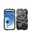 Skull Bling Crystal Cover Diamond Rhinestone Cases For Samsung Galaxy S III 3 i9300 I9308 - Black