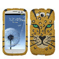 Tiger Bling Crystal Cover Rhinestone Diamond Cases For Samsung Galaxy S III 3 i9300 I9308 - Gold